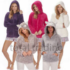 Ladies Snuggle Top Soft Fleece Bed Jacket Hooded Or Shawl Collar Gown 34B245