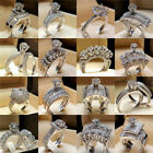 Women Engagement Wedding Ring Crystal Rhinestone White Gold Plated Rings Jewelry image