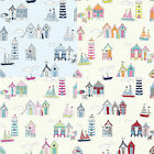 """Beach Huts"" Seaside Nautical Cotton Fabric - Curtain Craft Quilting Patchwork"