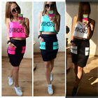 Sexy Women Party Cocktail Clubwear Camisole Tank Top+Skirt Suit Sleeveless Dress