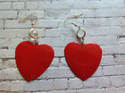Large vinttge red heart shaped earrings  rockabilly retro pinup