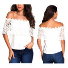 Women Fashion Sexy Off Shoulder Casual Tops Lace Crochet Chiffon Blouse White
