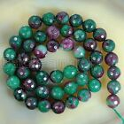 6mm 8mm 10mm 12mm 14mm Green Purple Faceted Jade Round Loose Beads 15""
