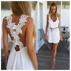 Women Lady Summer Beach Sexy Floral Lace Backless Sleeveless Evening Mini Dress