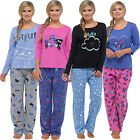 Ladies Jersey Long Sleeve Pyjama Set Pjs Loungewear Nightwear Cloud Cat Sheep