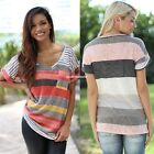 Women Tops Colorful Striped Loose Short Sleeve V-Neck shirt blouse T-Shirt EN24H