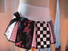 New COOL Girls Black white pink spotted check skulls  pleated skirt party gift