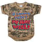 Aunt funny saying baby tee shirt infant one piece body suit army digital camo