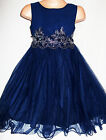 GIRLS DARK NAVY BLUE LACE TRIM CHIFFON TULLE PRINCESS OCCASION PARTY DRESS