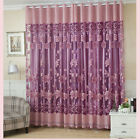 Voile Window Curtains Flower Pattern Sheer Panel Drape Curtains with Grommet Hot