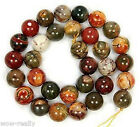 """Natural 4MM 6MM 8MM 10MM 12MM 14MM Picasso Jasper Round Loose Beads 15"""" Strand"""