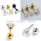 16G Stainless Steel Ear Bar Cartilage Helix Stud Earrings Round CZ Gem 3/4/5mm