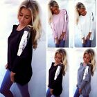 Plus Size Women Loose Casual Long Sleeve Sexy Shirt Tops Blouse Tee Top EN24H