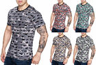 Herren Camouflage Polo Vintage Used T-Shirt Destroyed Look Zerrissen Ripped