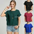 womme summer Casual Round neck t-shirt side  chiffon shirt shirt bat sleeve