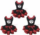 Thing#1 #2 #3 Top Red White Minnie Dots Black Satin Trim Skirt Girl Outfit NB-8Y