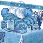 16/16TH Birthday BLUE GLITZ Party Range (BIRTHDAY/Plates/Napkins/Banner)