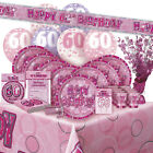 AGE 60/60TH BIRTHDAY PINK GLITZ PARTY RANGE (Balloon/Decoration/Banner/Napkins)