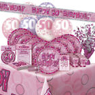 AGE 50/50TH BIRTHDAY PINK GLITZ PARTY RANGE (Balloon/Decoration/Banner/Napkins)