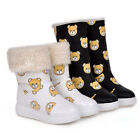 Chic Womens Printed Cartoon Fur Lined Snow Mid Calf Boots Flat Round Toe Shoes