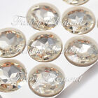 27mm Glass Round Clear Crystal Sew On Rhinestones Metal Plate Sewing Stones Gems
