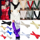 "UK Womens Ladies Long 22"" Opera Gloves Evening Satin Wedding Party Dress Prom"