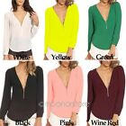 Lady Sexy Deep V Neck Long Sleeve Chiffon Zipper Slim Top T-Shirt Casual Blouse