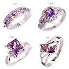 Nice Women Jewelry Amethyst Purple & White Topaz Silver Ring Size 6 7 8 9 10 11 image