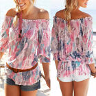 New Ladies Womens Chiffon T Shirt Floral Print Long Sleeve Blouse Casual Tops TY