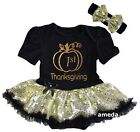 Baby Sparkle 1st Thanksgiving Pumpkin Black Bodysuit Tutu Party Dress