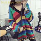 On Sale Womens Chic Sweater Multicolor V Neck One Sizes Loose Student Top Shirts