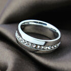 Womens Mens Stainless Steel Ring Wedding CZ Engagement Size 7-13 Jewelry