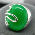 New Fashion Women's Green Jade Gemstone 925 Sterling Silver Ring Size 7-10