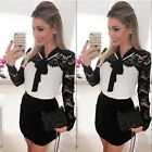Sexy Womens Vintage Long Sleeve Lace Evening Party Bodycon Mini Skater EN24H