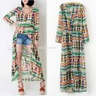 New Women Long Sleeve Dip Dye Shirred Waist Chiffon Blouse Shirt Cardigan Dress