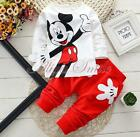 2pcs Baby Boy Girl Toddler Kid Mickey Mouse Clothing Long Tops Pants Outfit Suit