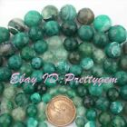8-20mm Faceted Round Green Cracked Agate Gemstone For DIY Making Loose Beads 15""