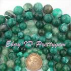 "Round Green Faceted Craceked Fire Agate GemStone Beads Loose Strand15""8,10,12mm"
