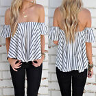 Women Ladies Summer Sexy Off Shoulder Crop Tops Tank T-Shirt Loose Blouse