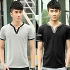 Fashion Men Summer Tops Casual Loose T-shirt Sports Short Sleeves V-Neck S0BZ