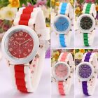 Fashion Women 3 Color Silicone Strap Contrast color Quartz Wrist Watch S0BZ
