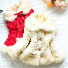 NEW Girls Baby Toddler Faux Fur Warm Fleece Pearl Flowers Jacket Coat 2-6T S0BZ