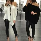 Women Ladies Loose Pullover T Shirt Long Sleeve Off Shoulder Tops Shirt EN24H
