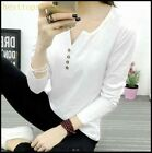 New Fashion Womens Cotton Blend V Neck Long Sleeves Casual Walking Sport Shirts