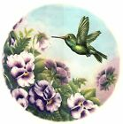 Purple Pansy Green Hummingbird Select-A-Size Waterslide Ceramic Decals Xx image