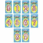 DELUXE Numeral Birthday CANDLE (Numbers 0 - 9) {Unique} (Party/Cake/Red/White)