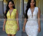 Bodycon Evening Party Cocktail ClubwearLadies Lace V Neck Sleeveless Mini Dress
