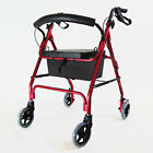 New Lightweight Rollator With Seat 4 Wheel Walker Mobility Walking Frame Zimmer <br/> Puncture Proof Tyres Foldable With Seat and Storage Bag