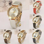 Women Crystal Watch Leather Quartz Moon Casual Analog Stainless Steel Wristwatch