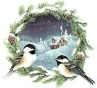 Chickadee Wreath Winter Snow Scene Select-A-Size Waterslide Ceramic Decals Ox image
